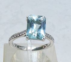 Aquamarine Engagement Ring 10 x 8 Emerald Cut by pristinejewelry, $923.00