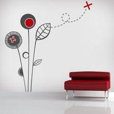 Vinilos Decorativos Flores de Autor Wall Painting Decor, Room Decor, Wall Decor, Colour Schemes, Wall Design, Wall Stickers, Paint Colors, Interior Design, Fancy Houses