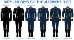 Sci-Fi: Alignment Fleet Uniforms by Leovinas.deviantart.com on @DeviantArt