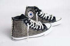 Men's Custom Studded High Top Converse Sneakers