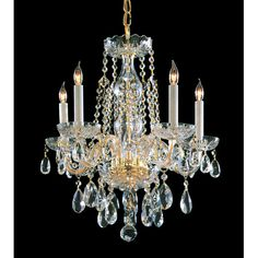 Traditional crystal chandeliers are classic, timeless, and elegant. Crystorama's opulent glass arm chandeliers are nothing short of spectacular. This collection is offered in a variety of crystal grades to fit any budget. For a touch of class, order this collection in Gold for traditionalists or in Chrome to match your contemporary or transitional decor.