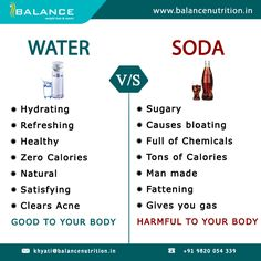 Water v/s Soda #WaterBenefits #Soda  http://balancenutrition.in/blog/beat-the-heat/