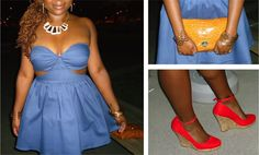 Outfit of the Day: Denim + Orange Burst - www.yannid.net #fashionblog #styleinspiration #ootd #neon #orange #denim #dress