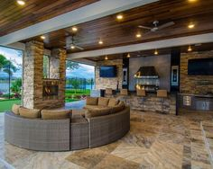 Awesome outdoor kitchen and living room!