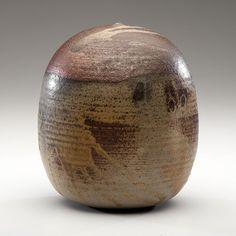 Toshiko Takaezu (1922-2011; USA) Closed Form #1 Stoneware; ht. 9, dia. 7.5 in. Artist signature incised on base.