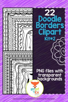 This 'Doodle Borders Clipart Pack contains 22 fun and unique borders, ready to spice up all of your printables, worksheets, cover pages, and give them the extra boost they need to stand out from the crowd! Math Clipart, Science Clipart, Zen Doodle Patterns, Doodle Borders, Sharpie Doodles, Valentines Day Clipart, Fox Design, Design Art, Alphabet Worksheets
