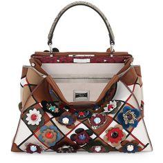 Fendi Peekaboo Medium Patchwork Flowers Satchel Bag (32.220 RON) ❤ liked on Polyvore featuring bags, handbags, multi, fendi tote, fendi purses, snakeskin handbags, snakeskin purse and tote handbags