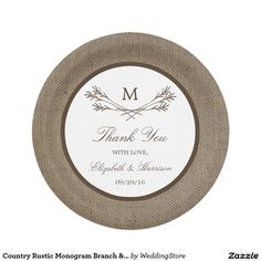 Country Rustic Monogram Branch & Burlap Wedding