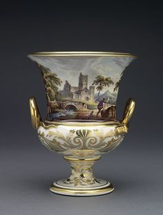 Campana shaped vase Derby Porcelain Factory (English, established 1756) Bone porcelain, hand-painted in polychrome enamels and gilded Centimetres: 16.6 (height), 13.8 (outside diameter) c. 1815 Neoclassical