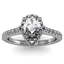 Pear Cut Diamond Halo Engagement Ring set in 18k White Gold