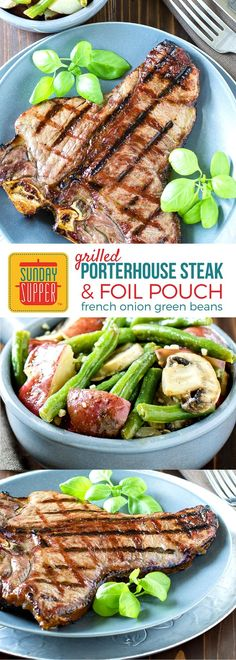 Eat like a cowboy when you cook up this Grilled Porterhouse Steak with Foil Pouch French Onion Green Beans. Learn how to grill the perfect steak meal for your next camping trip or backyard bbq! #SundaySupper #RootsInBoots #CertifiedAngusBeef