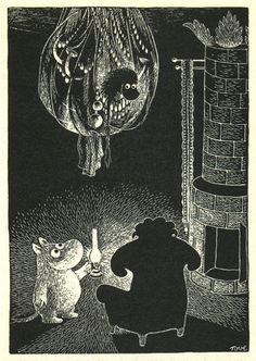 Moomin uses a lantern to see in the dark - by Tove Jansson Tove Jansson, Moomin Books, Moomin Valley, Children's Book Illustration, Totoro, Childrens Books, Fairy Tales, Scene, Fine Art