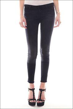 J Brand Gray Stepped Hem Skinny Jeans