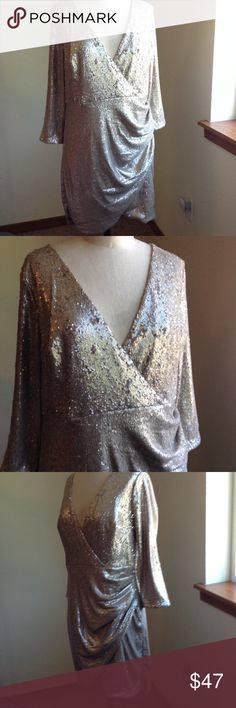 LuLu's formal gold sequins cocktail dress Gently worn Lulu's Dresses