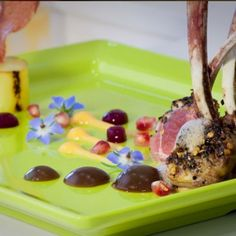 Rack of lamb, beetroot pearls and carrot puree by Chef Matthew Schembri (St. Paul's Bay, Malta).