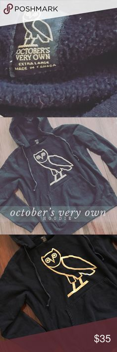 2PP // Black October's Very Own hooded sweatshirt black oversized October's Very Own branded hoodie sweatshirt. good condition, no flaws or defects. a tiny bit of a fade from normal wear and wash. super comfortable and warm. unisex. tag is size x-large. —— #drake #octobersveryown #canadian #owl #faded #hoodie #sweatshirt #oversize Shirts Sweatshirts & Hoodies