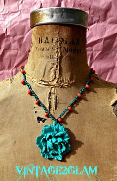 beautiful aqua large peony pendant on beaded croceted cord necklace with button closure