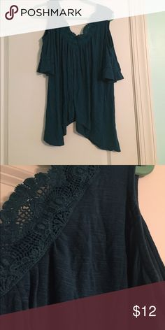 Blue Green Cold Shoulder Blouse Blue green color with lace detail. Worn a few times, but still lots of life left. Maurices Tops