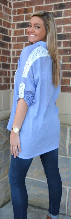 Such an effortless look. We love the lace detail to an over-sized collared shirt. Pair it with your favorite skinnies for a timeless and beautiful look. The model is wearing a small and is 6′. Material is 100% polyester. Hand wash.