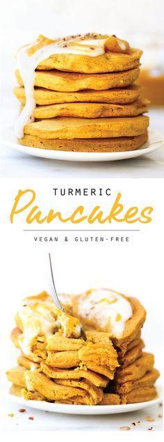Turmeric Spice Pancakes vegan, gluten-free, no banana tumeric recipes drinks tumeric recipes inflamm Pancakes Végétaliens, Vegan Pancakes, Healthy Banana Pancakes, Vegan Pancake Recipes, Vegan Recipes, Qinuoa Recipes, Jucing Recipes, Sin Gluten, Vegan Gluten Free