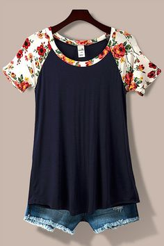 Floral Sleeve Top - Navy and Ivory - Blue Chic Boutique - 1