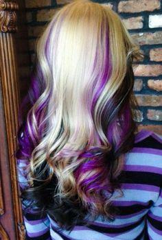 Blonde, purple & black hair hair hair styles, dyed hair, balayage h Purple Black Hair, Hair Color Purple, Cool Hair Color, Hair Colors, Purple Streaks, Balayage Hair Blonde, Ombre Hair, Gorgeous Hair, Hairstyle Ideas