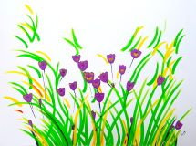 poppy flower art still life painting purple flowers plants landscape artwork abstract flowers original painting violet lilac green white canvas painting wall art