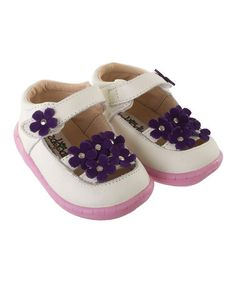 Take a look at this White & Purple Sweetpeas Mary Jane by Pedoodles on #zulily today!