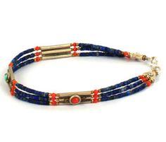 Tibetan  Lapis Lazuli Bead Bracelet from Mynahs Tree by DaWanda.com