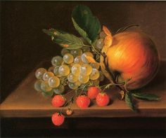 george forster still life with grapes apple and strawberries painting
