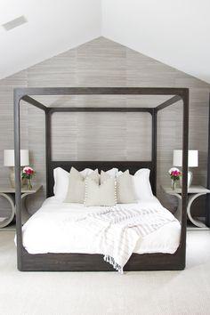 Grasscloth Wallpaper Bedroom Master Suite New Ideas Small Master Bedroom, Master Bedroom Makeover, Master Bedroom Design, Home Decor Bedroom, Bedroom Ideas, Master Bedrooms, Master Suite, Wood Canopy Bed, Beach Bedding Sets