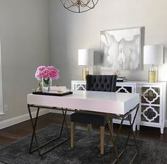 Home office inspo, white and gold office desk, classic gray paint, glam off Guest Room Office, Home Office Space, Home Office Design, Home Office Furniture, Home Office Decor, Home Decor, Office Workspace, Small Office, Design Desk