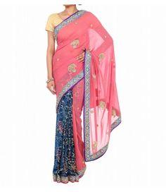 Deep Blue and  Pink  Designer Zardozi Saree