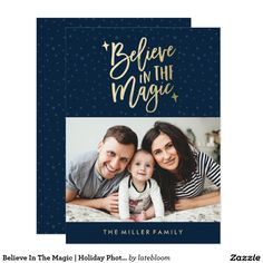 Believe In The Magic   Holiday Photo Card in Navy