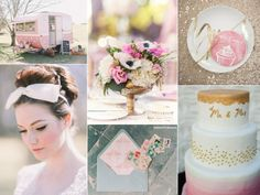 A retro styled pink and gold wedding inspiration board with a vintage pink Winnebago. Gold Glitter Wedding, Pink And Gold Wedding, Wedding Colors, Wedding Flowers, Pink Und Gold, 1960s Wedding, Sedona Wedding, Wedding Gifts For Bridesmaids, Vintage Pink