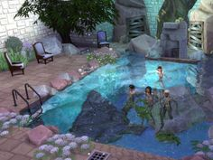 The Grotto Park - The Sims 4 Catalog Grotto Pool, Sims Love, Around The Sims 4, Sims 4 House Plans, The Sims 4 Lots, Sims 4 House Design, Casas The Sims 4, House In Nature, Water House