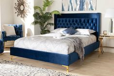 Royal Blue Bedrooms, Blue And Gold Bedroom, Blue Master Bedroom, Silver Bedroom, Glam Bedroom, Bedroom Green, Home Decor Bedroom, Master Bedrooms, Bedroom Inspo