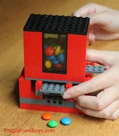 Build a working candy dispenser out of Legos! Or Skittles? Add a little creativity to your kids' sugar high with this fun Lego project! This Lego candy dispenser uses pieces … Projects For Kids, Diy For Kids, Craft Projects, Crafts For Kids, Lego For Girls, Candy Dispenser, Legos, Casa Lego, Lego Candy