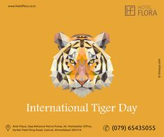 Global Tiger Day, often called International Tiger Day, is an annual celebration to raise awareness for tiger conservation, held annually on 29 July. It was created in 2010 at the Saint Petersburg Tiger Summit.The goal of the day is to promote a global system for protecting the natural habitats of tigers and to raise public awareness and support for tiger conservation issues.  #InternationalTigerDay #hotel #flora #thecube #restaurant #banquet #ahmedabad