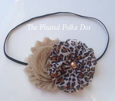 Tan Shabby and Leopard Flower with Bronze Pearl by ThePleatedPolkaDot, $7.00