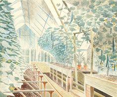 FREE DELIVERY to UK!  Reproduction of the watercolour on paper work Cucumber House produced in 1935.  This print along with The Greenhouse was inspired by visits to Firle House, Lewes, Sussex.  Hand-numbered and hand-embossed.  FREE DELIVERY to UK!