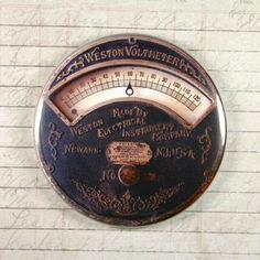 Printed Weston Voltmeter Gauge Magnet #2 - Steampunk Gauge Magnet Gears