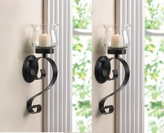 2 Black Iron Artisanal Sconce Wall Mount Hurricane garden candle holder Set PAIR by sallyashop *** Details can be found by clicking on the image. (This is an affiliate link) Candle Wall Decor, Candle Wall Sconces, Wall Mounted Candle Holders, Candle Holder Set, Outdoor Wall Sconce, Glass Candle, Hurricane Candle, Decor Ideas, Decorating Ideas