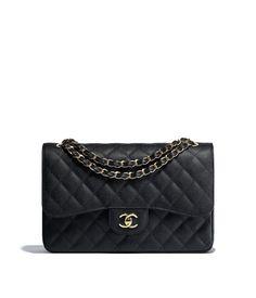 da7189e577af Grained Calfskin & Gold-Tone Metal Black Large Classic Handbag. Klassisch Chanel ...