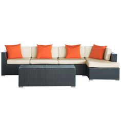 Contemporary and comfortable, the El sectional sets the tone for the perfect outdoor living space. Featuring all-weather engineered rattan, you can leave this set out in the elements without worry.