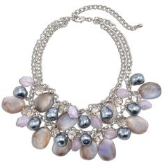 Chico's Madge Lavender Bib Necklace (36 AUD) ❤ liked on Polyvore featuring jewelry, necklaces, soft orchid, beaded jewelry, fake jewelry, plastic jewelry, artificial jewellery and imitation jewellery