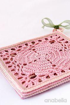 Japanese crochet square coasters, free pattern ༺✿Teresa Restegui http://www.pinterest.com/teretegui/✿༻