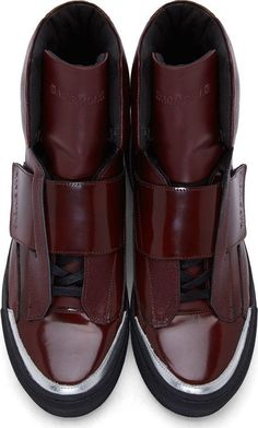 buy popular d6220 90f3d Raf Simons x Sterling Ruby Burgundy Patent  amp  Etched Leather High   menshoes Mens Fashion