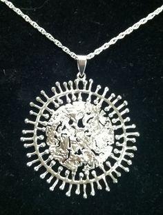 Finland Tapio Wirkkala Silver Pendant Necklace  Full Moon. TapioWirkkalaDesign .......