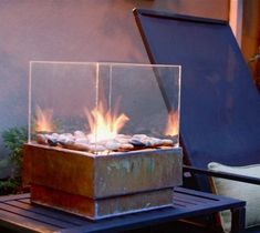 DIY Table Top Fire Pit With Glass Surround